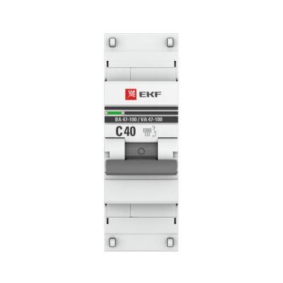 Автоматический выключатель 1P  40А (C) 10kA ВА 47-100 EKF PROxima; mcb47100-1-40C-pro