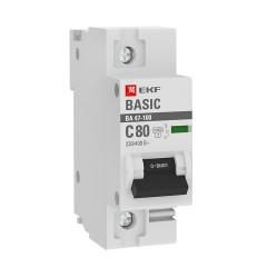 Автоматический выключатель 1P  80А (C) 10kA ВА 47-100 EKF Basic