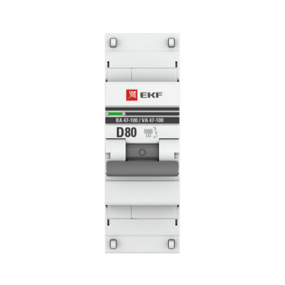 Автоматический выключатель 1P  80А (D) 10kA ВА 47-100 EKF PROxima; mcb47100-1-80D-pro