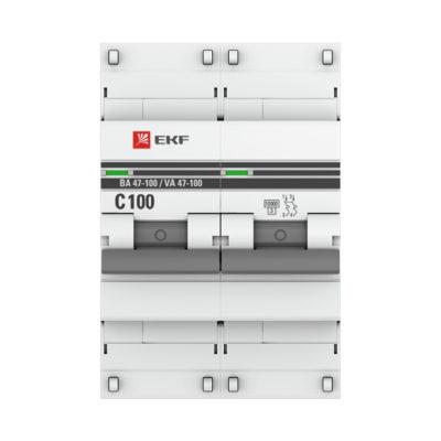 Автоматический выключатель 2P 100А (C) 10kA ВА 47-100 EKF PROxima; mcb47100-2-100C-pro