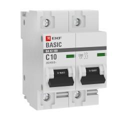 Автоматический выключатель 2P  10А (C) 10kA ВА 47-100 EKF Basic
