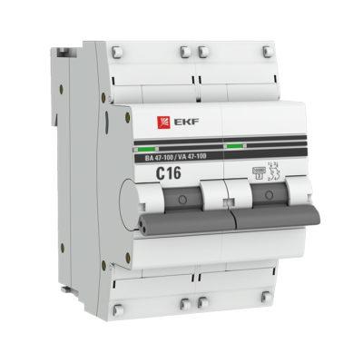 Автоматический выключатель 2P  16А (C) 10kA ВА 47-100 EKF PROxima; mcb47100-2-16C-pro