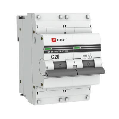 Автоматический выключатель 2P 20А (C) 10kA ВА 47-100 EKF PROxima; mcb47100-2-20C-pro