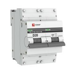 Автоматический выключатель 2P 20А (D) 10kA ВА 47-100 EKF PROxima