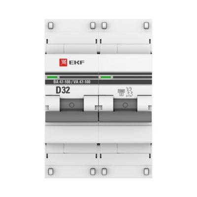 Автоматический выключатель 2P  32А (D) 10kA ВА 47-100 EKF PROxima; mcb47100-2-32D-pro