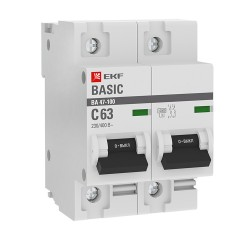Автоматический выключатель 2P  63А (C) 10kA ВА 47-100 EKF Basic