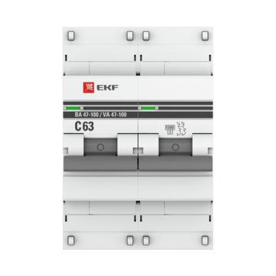 Автоматический выключатель 2P  63А (C) 10kA ВА 47-100 EKF PROxima; mcb47100-2-63C-pro
