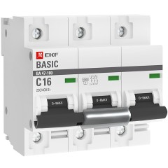 Автоматический выключатель 3P  16А (C) 10kA ВА 47-100 EKF Basic