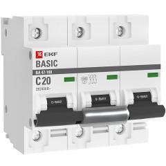 Автоматический выключатель 3P  20А (C) 10kA ВА 47-100 EKF Basic