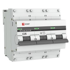 Автоматический выключатель 3P  25А (C) 10kA ВА 47-100 EKF PROxima