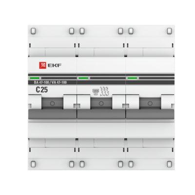 Автоматический выключатель 3P  25А (C) 10kA ВА 47-100 EKF PROxima; mcb47100-3-25C-pro