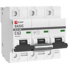 Автоматический выключатель 3P  63А (C) 10kA ВА 47-100 EKF Basic
