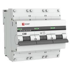 Автоматический выключатель 3P  80А (C) 10kA ВА 47-100 EKF PROxima