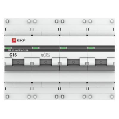 Автоматический выключатель 4P  16А (C) 10kA ВА 47-100 EKF PROxima; mcb47100-4-16C-pro