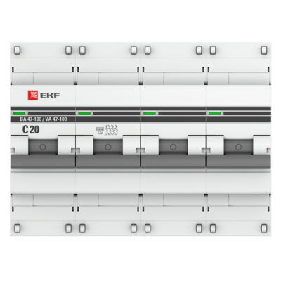 Автоматический выключатель 4P 20А (C) 10kA ВА 47-100 EKF PROxima; mcb47100-4-20C-pro