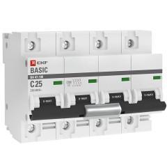 Автоматический выключатель 4P  25А (C) 10kA ВА 47-100 EKF Basic