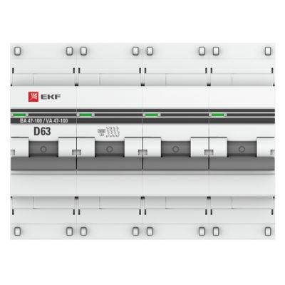 Автоматический выключатель 4P  63А (D) 10kA ВА 47-100 EKF PROxima; mcb47100-4-63D-pro