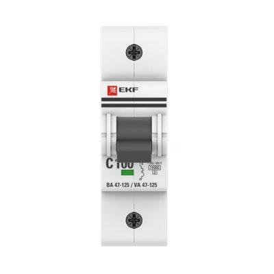 Автоматический выключатель 1P 100А (C) 15кА ВА 47-125 EKF PROxima; mcb47125-1-100C