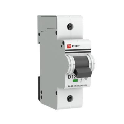 Автоматический выключатель 1P 125А (D) 15кА ВА 47-125 EKF PROxima; mcb47125-1-125D
