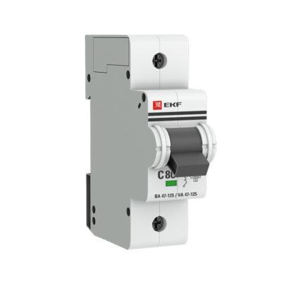 Автоматический выключатель 1P  80А (C) 15кА ВА 47-125 EKF PROxima; mcb47125-1-80C