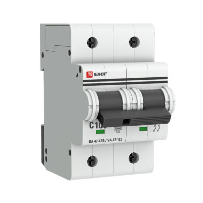 Автоматический выключатель 2P 100А (C) 15кА ВА 47-125 EKF PROxima; mcb47125-2-100C