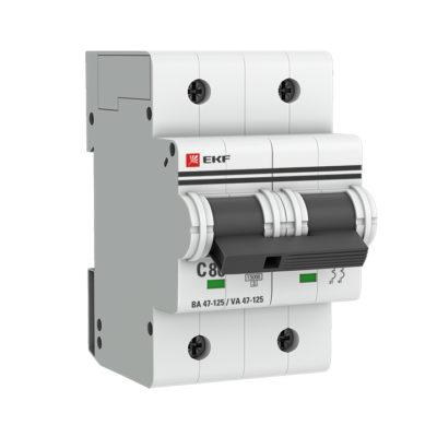 Автоматический выключатель 2P  80А (C) 15кА ВА 47-125 EKF PROxima; mcb47125-2-80C