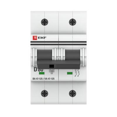 Автоматический выключатель 2P  80А (D) 15кА ВА 47-125 EKF PROxima; mcb47125-2-80D