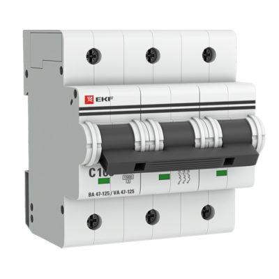 Автоматический выключатель 3P 100А (C) 15кА ВА 47-125 EKF PROxima; mcb47125-3-100C