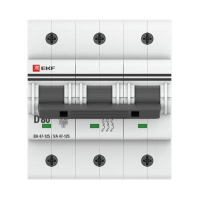 Автоматический выключатель 3P  80А (D) 15кА ВА 47-125 EKF PROxima; mcb47125-3-80D