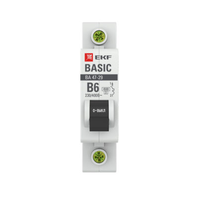 Автоматический выключатель 1P  6А (B) 4,5кА ВА 47-29 EKF Basic; mcb4729-1-06-B