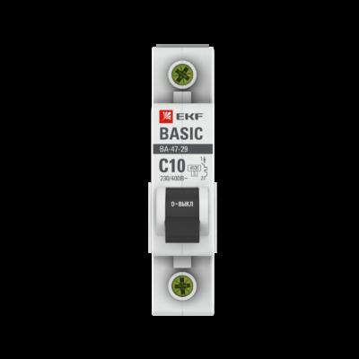 Автоматический выключатель 1P 10А (C) 4,5кА ВА 47-29 EKF Basic; mcb4729-1-10C