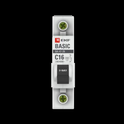 Автоматический выключатель 1P 16А (C) 4,5кА ВА 47-29 EKF Basic; mcb4729-1-16C