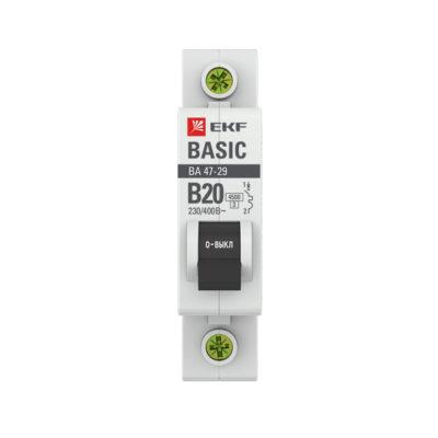 Автоматический выключатель 1P 20А (B) 4,5кА ВА 47-29 EKF Basic; mcb4729-1-20-B