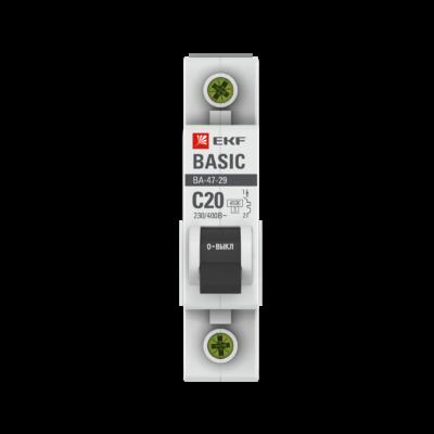 Автоматический выключатель 1P 20А (C) 4,5кА ВА 47-29 EKF Basic; mcb4729-1-20C