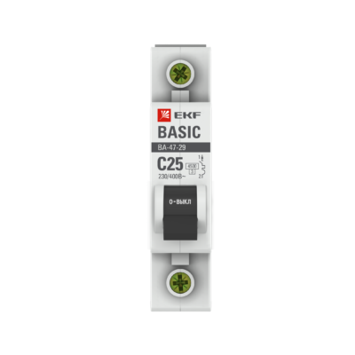 Автоматический выключатель 1P 25А (C) 4,5кА ВА 47-29 EKF Basic; mcb4729-1-25C