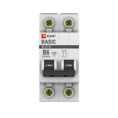 Автоматический выключатель 2P  6А (B) 4,5кА ВА 47-29 EKF Basic; mcb4729-2-06-B