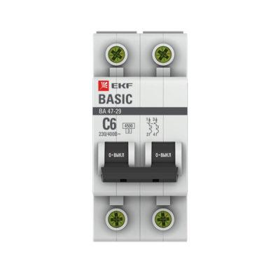 Автоматический выключатель 2P  6А (C) 4,5кА ВА 47-29 EKF Basic; mcb4729-2-06C