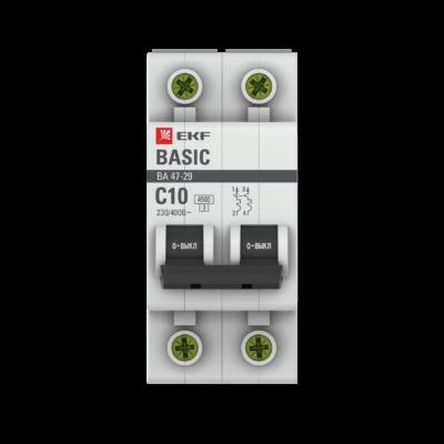 Автоматический выключатель 2P 10А (C) 4,5кА ВА 47-29 EKF Basic; mcb4729-2-10C