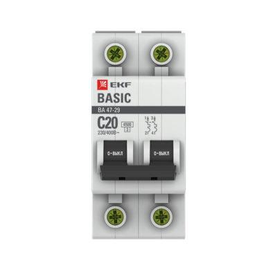 Автоматический выключатель 2P 20А (C) 4,5кА ВА 47-29 EKF Basic; mcb4729-2-20C