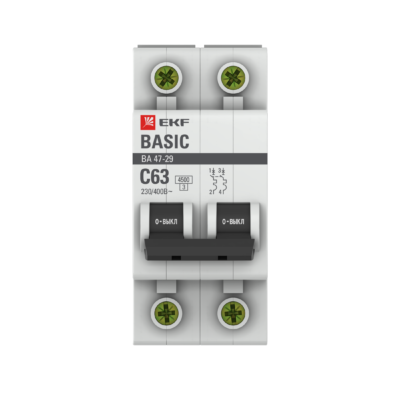 Автоматический выключатель 2P 63А (C) 4,5кА ВА 47-29 EKF Basic; mcb4729-2-63C