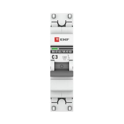 Автоматический выключатель 1P  3А (C) 4,5kA ВА 47-63 EKF PROxima; mcb4763-1-03C-pro