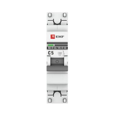 Автоматический выключатель 1P  5А (C) 4,5kA ВА 47-63 EKF PROxima; mcb4763-1-05C-pro