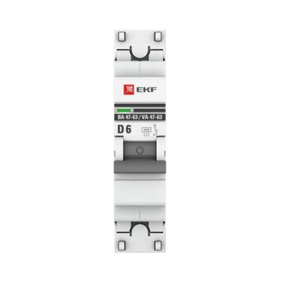 Автоматический выключатель 1P  6А (D) 4,5kA ВА 47-63 EKF PROxima; mcb4763-1-06D-pro