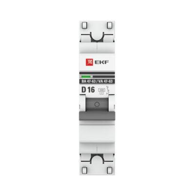 Автоматический выключатель 1P 16А (D) 4,5kA ВА 47-63 EKF PROxima; mcb4763-1-16D-pro