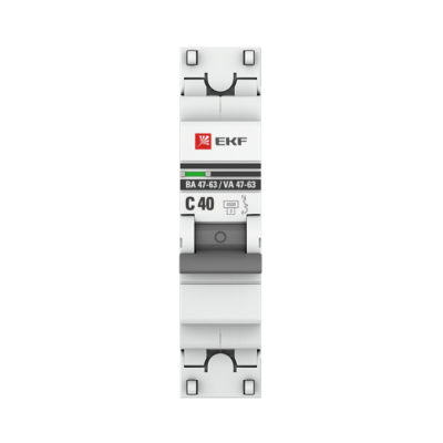 Автоматический выключатель 1P 40А (C) 4,5kA ВА 47-63 EKF PROxima; mcb4763-1-40C-pro