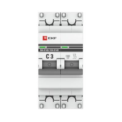 Автоматический выключатель 2P  3А (C) 4,5kA ВА 47-63 EKF PROxima; mcb4763-2-03C-pro