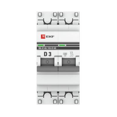 Автоматический выключатель 2P  3А (D) 4,5kA ВА 47-63 EKF PROxima; mcb4763-2-03D-pro