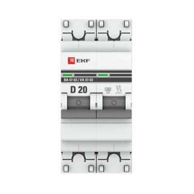 Автоматический выключатель 2P 20А (D) 4,5kA ВА 47-63 EKF PROxima; mcb4763-2-20D-pro