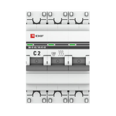 Автоматический выключатель 3P  2А (C) 4,5kA ВА 47-63 EKF PROxima; mcb4763-3-02C-pro