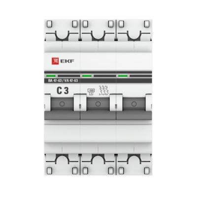 Автоматический выключатель 3P  3А (C) 4,5kA ВА 47-63 EKF PROxima; mcb4763-3-03C-pro